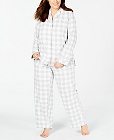 Plus Size Cotton Flannel Pajamas Set, Created for Macy's