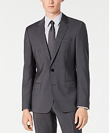 Men's Slim-Fit Gray Sharkskin Suit Separate Jacket