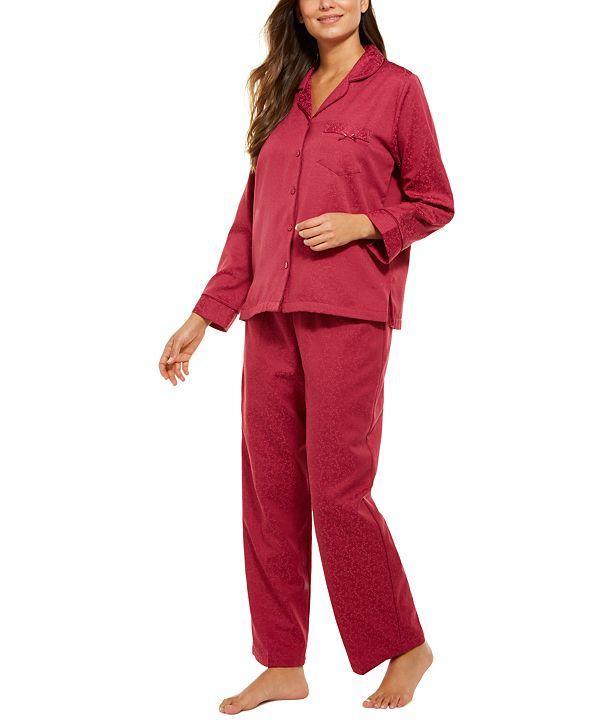 Miss Elaine Jacquard Brushed Back Satin Pajama Set