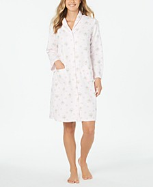 Quilted Knit Floral-Print Robe