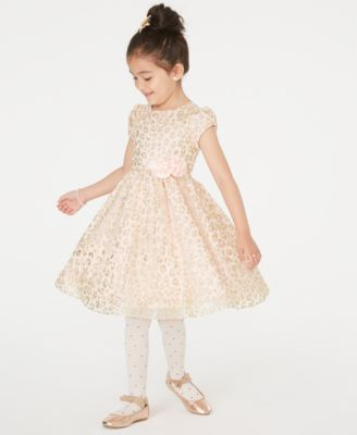 Little Girls Glitter Animal-Print Dress