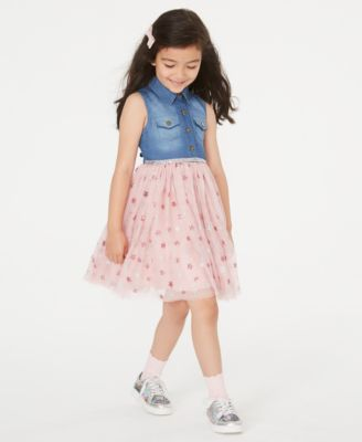 Little Girls Denim & Star-Print Mesh Dress
