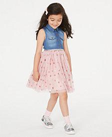 Rare Editions Toddler Girls Denim & Star-Print Mesh Dress