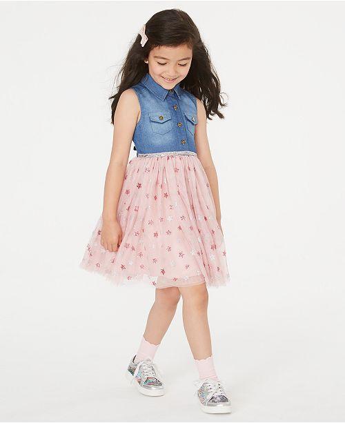 Rare Editions Little Girls Denim & Star-Print Mesh Dress