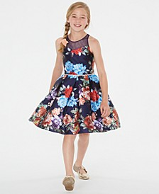 Big Girls Floral-Print Illusion Dress