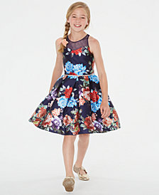Rare Editions Big Girls Floral-Print Illusion Dress