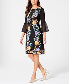 Printed Chiffon-Sleeve Dress, Created for Macy's