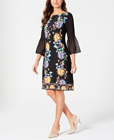 JM Collection Printed Chiffon-Sleeve Dress, Created for Macy's