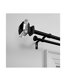 """Exclusive Home Prism Double Curtain Rod and Finial Set, 66""""-120"""""""