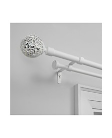 """Exclusive Home Mosaic Double Curtain Rod and Finial Set, 66""""-120"""""""