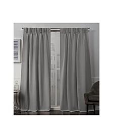 "Sateen Twill Woven Blackout Pinch Pleat Window Curtain Panel Pair, 30"" x 96"""