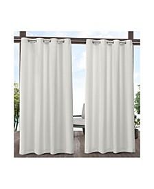 """Delano Heavyweight Textured Indoor/Outdoor Grommet Top Curtain Panel Pair, 54"""" x 84"""""""