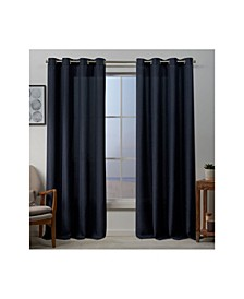 "Baxter Textured Basket Weave Grommet Top 54"" X 96"" Curtain Panel Pair"