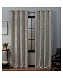 """Exclusive Home Kilberry Woven Blackout Grommet Top Window 52"""" X 84"""" Curtain Panel Pair"""