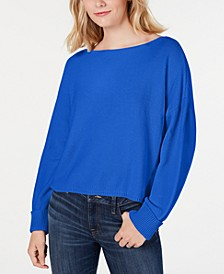 Cotton Oversized Boat-Neck Sweater