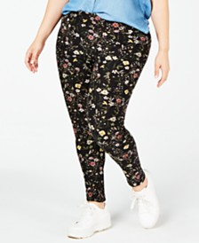 Trendy Plus Size Floral-Print Leggings