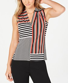 Calvin Klein Mixed-Striped V-Neck Top