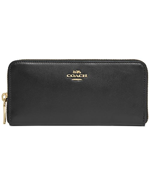 COACH Smooth Leather Accordion Zip Wallet