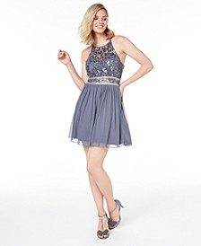 Juniors' Sequined Lace & Chiffon Dress, Created for Macy's