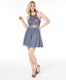 BCX Juniors' Sequined Lace & Chiffon Dress, Created for Macy's