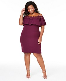 Plus Size Trendy Plus Size  Off-The-Shoulder Crochet Dress
