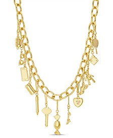 Women's Key and Heart Dangle Charm Necklace