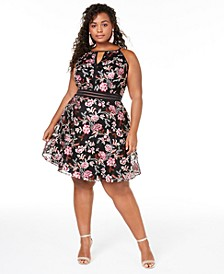 Trendy Plus Size Embroidered Fit & Flare Dress, Created for Macy's