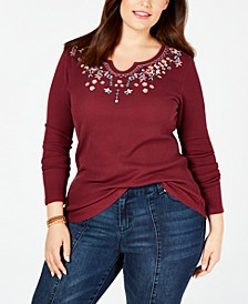Plus Size Embroidered Thermal Top, Created for Macy's