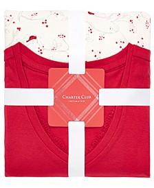 Lace-Trim Top & Printed Pajama Pants Set, Created For Macy's