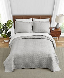 Tommy Bahama Solid Pelican Grey Quilt Set, Full/Queen