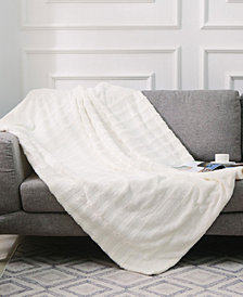"Cheer Collection Ultra Soft Faux Fur to Microplush 60"" x 70"" Reversible Cozy Warm Throw Blanket"