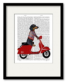Dachshund On A Moped Framed and Matted Art Collection