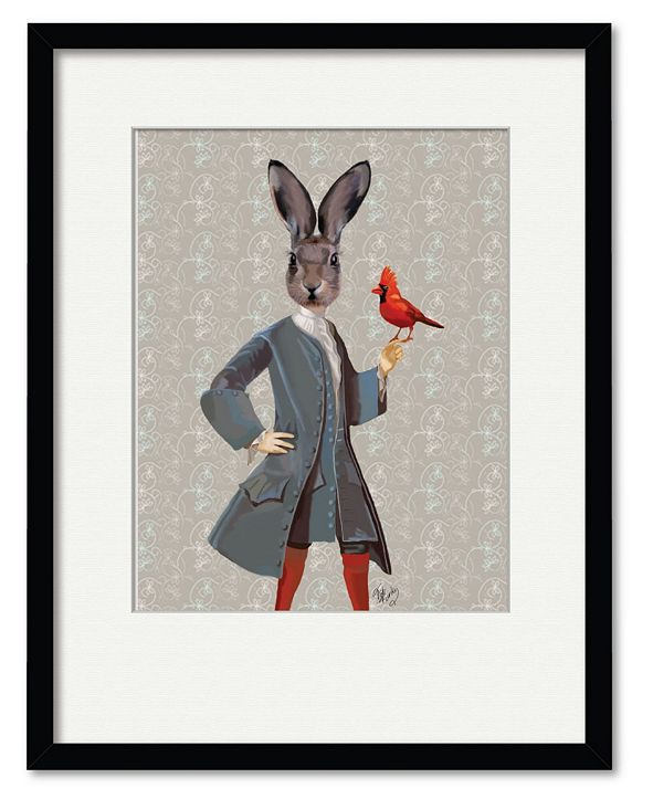 """Courtside Market Rabbit and Bird 16"""" x 20"""" Framed and Matted Art"""