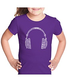 Girl's Word Art T-Shirt - 63 Different Genres of Music