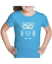 Girl's Word Art T-Shirt - Owl