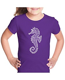 Girl's Word Art T-Shirt - Types of Seahorse