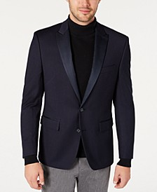 Men's Modern-Fit Navy Grid Pattern Dinner Jacket, Created for Macy's