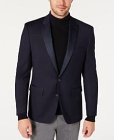 Ryan Seacrest Distinction™ Men's Modern-Fit Navy Grid Pattern Dinner Jacket, Created for Macy's