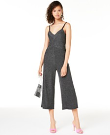 BCX Juniors' Glitter-Stripe Jumpsuit