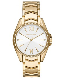 Michael Kors Women's Whitney Gold-Tone Stainless Steel Bracelet Watch 38mm