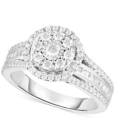 TruMiracle™ Diamond Halo Cluster Engagement Ring (1 ct. t.w.) in 10k White Gold