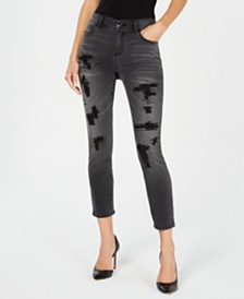 I.N.C. Embellished Ripped Skinny Jeans, Created for Macy's