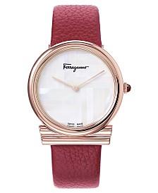Ferragamo Women's Swiss Gancino Burgundy Leather Strap Watch 34mm