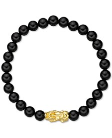 Chalcedony Bead Bracelet With 24k Gold Charm