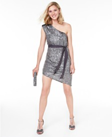 City Studios Juniors' Sequined One-Shoulder Sheath Dress