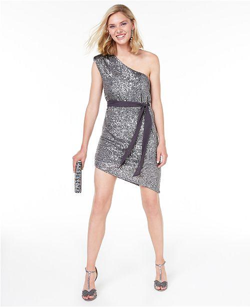 City Studios Juniors' Sequined One-Shoulder Sheath Dress