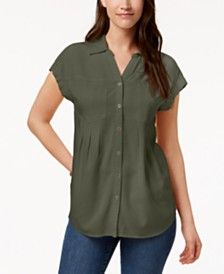 Style & Co Pleated Cuffed-Sleeve Top, Created for Macy's