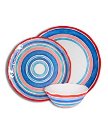 222 Fifth Ocean Stripes 12 Piece Melamine Dinnerware Set
