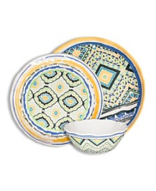 Porto Santo Mixed 12 Piece Melamine Dinnerware Set