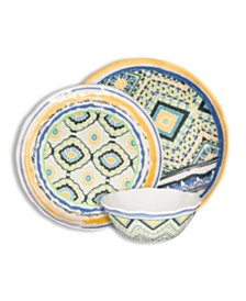 222 Fifth Porto Santo Mixed 12 Piece Melamine Dinnerware Set